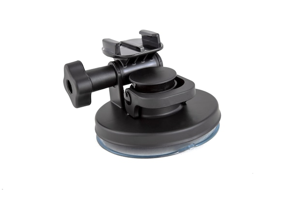 Original accessory suction mount tripod for action camera isolated on white background