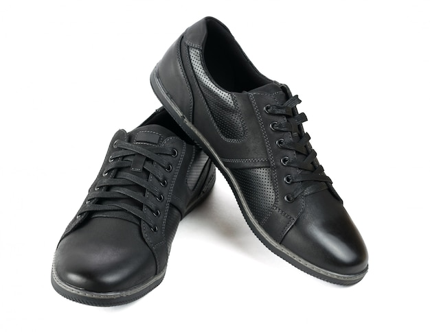 Original black mens sports shoes isolated