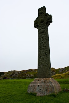 Original celtic cross on isle of iona, more than 1000 years old