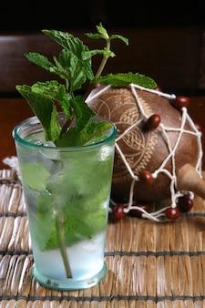 Original cuban mojito, popular cocktail originally from cuba. composed of rum, sugar, lemon, mint or eucalyptus and mineral water.