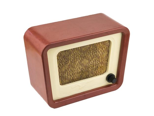 Original vintage radio isolated on white