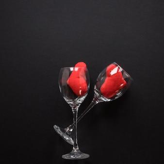 Ornament hearts in wine glasses
