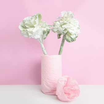 Ornamental cabbage in a vase, wrapped with pink paper on pink wall