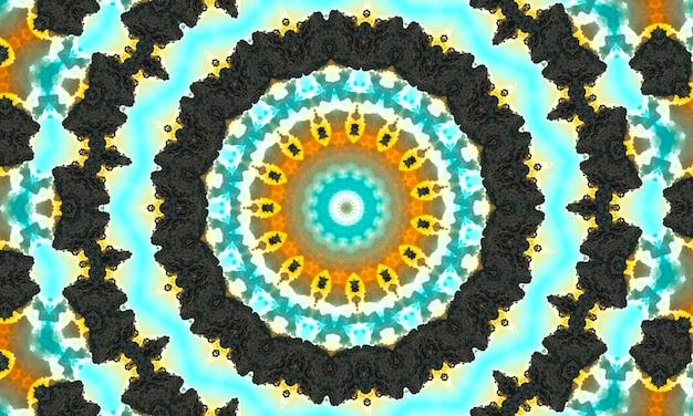 Движение декоративного декоративного калейдоскопа геометрический круг, абстрактный цветочный калейдоскоп, геометрический этнический бесшовный образец, замысловатый народный фон
