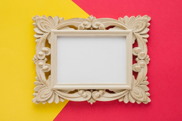 Ornamental frame on bicolor background