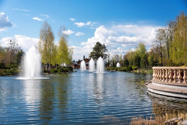 湖、咲く茂み、噴水のある観賞用庭園