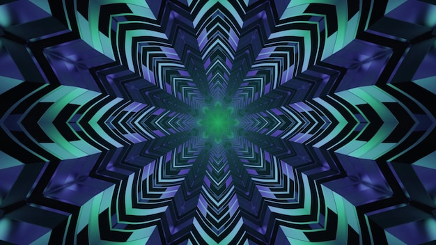 Ornamental geometric neon illumination 4k uhd 3d illustration