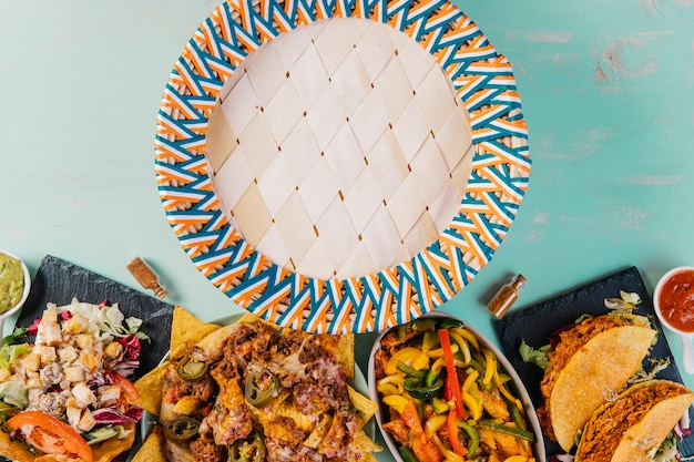 Ornamental plate above mexican food