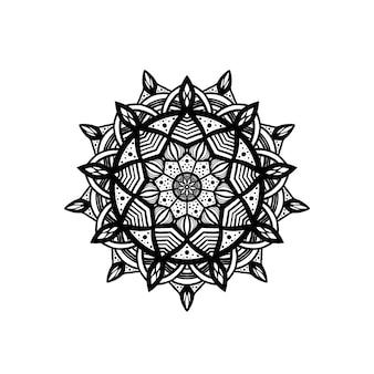 Декоративный круглый цветочный узор ручной обращается элемент черно-белая мандала