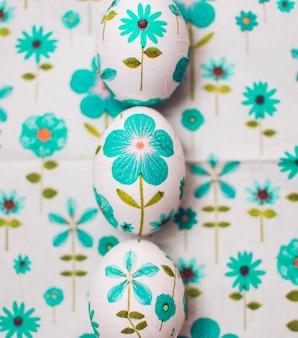 Ornamented easter eggs in row