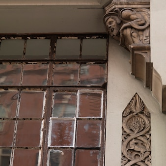 Ornate carvings on a building in the chelsea area of manhattan, new york city, u.s.a.