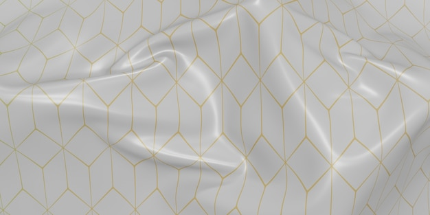 Ornate flag creases waves of fabric texture pattern dynamic curve bar 3d illustration