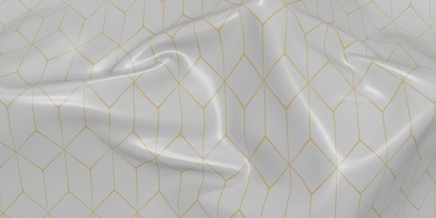 華やかな旗は、生地のテクスチャパターンの波を折り目が付けます動的曲線バー3dイラスト