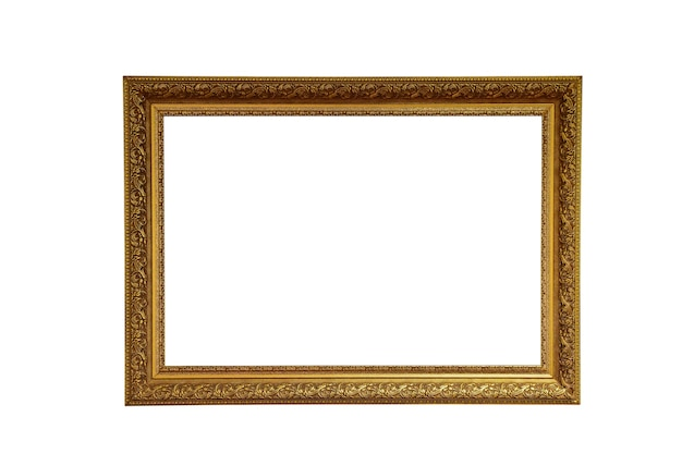 Ornate picture frame in gold color on white clipping background with white background inside