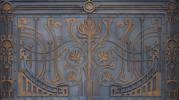 Ornate wrought-iron elements of metal gate decoration