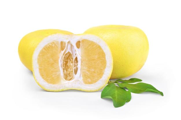 スウィーティースウィーティーフルーツグループザボンと白いグレープフルーツのハイブリッドが白い表面の切り欠きに分離されました