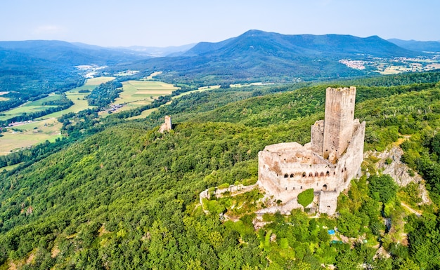 Ortenbourg and ramstein castles in the vosges mountains, the bas-rhin department of france