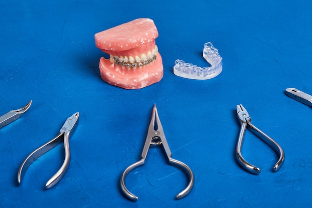 Orthodontic model and set of medical metal orthodontic tools on blue