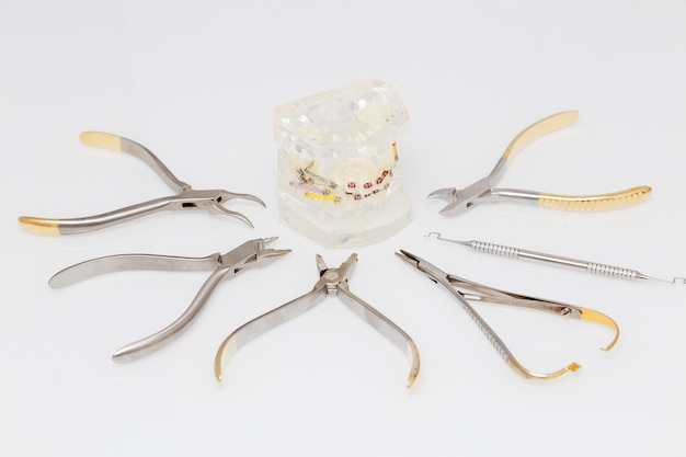 Orthodontic model and set of medical metal orthodontic tools