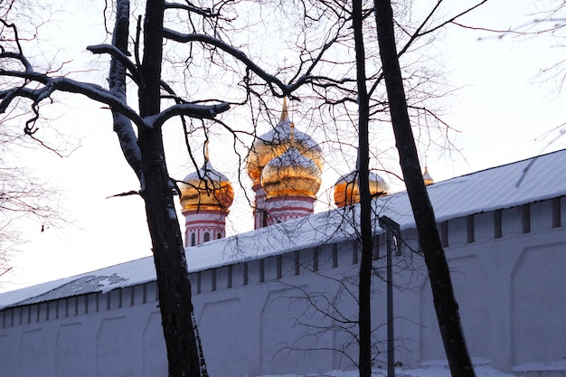 Orthodox church in the winter. iversky monastery in valdai, russia
