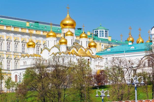 Православные церкви с золотыми куполами на фоне зданий московского кремля в солнечном свете