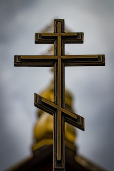 Orthodox crosses on gold domes.