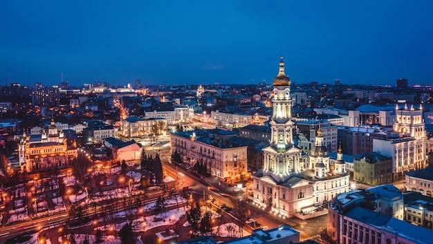 Orthodox dormition cathedral and evening centrum of kharkiv, ukraine