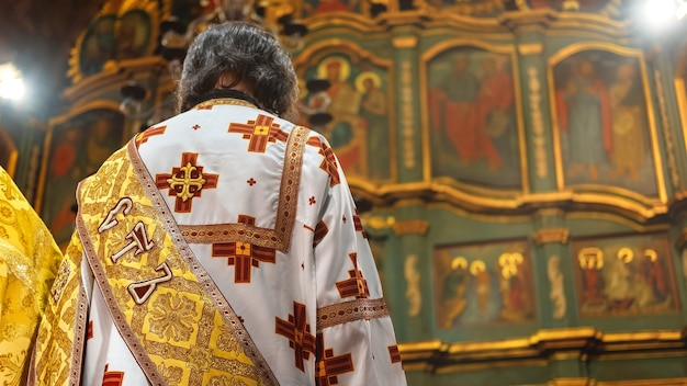 Orthodox priest serving in a church. wedding ceremony
