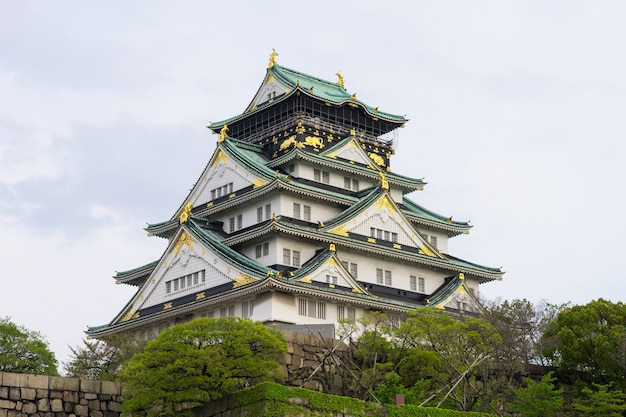 Osaka castle in afternoon spring.