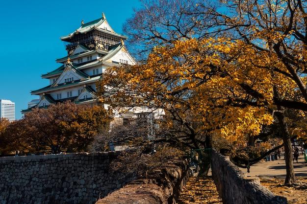Osaka castle landmark in autumn