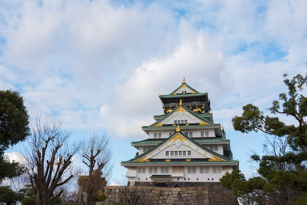 Osaka castle in osaka city with winter leaves, japan.