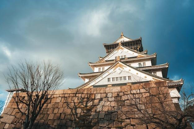 Замок осаки с пасмурным небом в зимний сезон