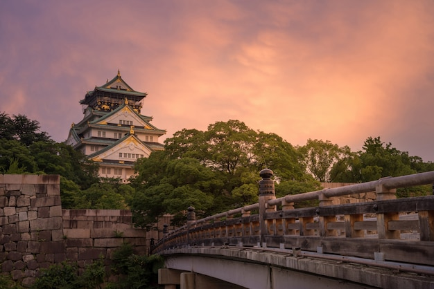 Osaka castle with sunset