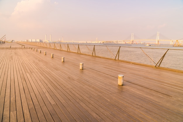 Osanbashi pier or bridge with beautiful yokohama city skyline