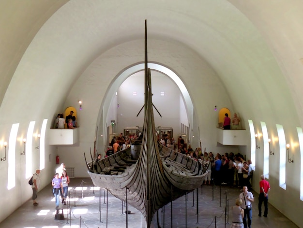Oseberg ship a large vessel from viking era exhibited in the viking ship museum in oslo norway