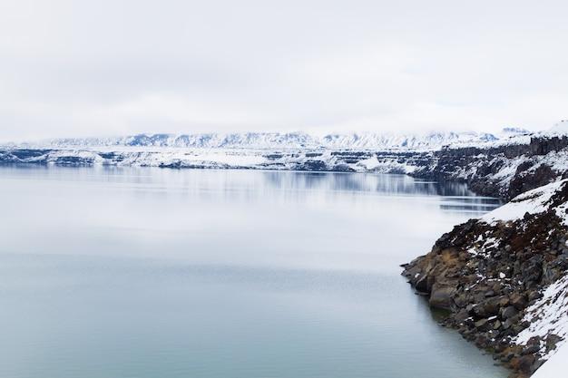 アイスランドのaskjaにあるoskjuvatn湖。アイスランドのランドマークの中央高地。火山の眺め