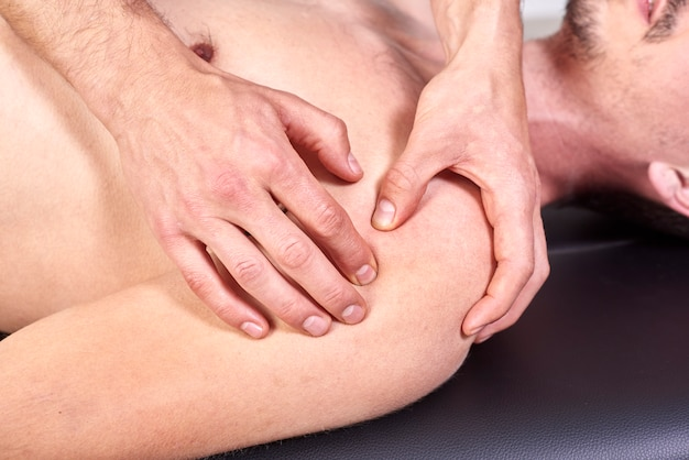 Osteopathy, sports injury rehabilitation concept.