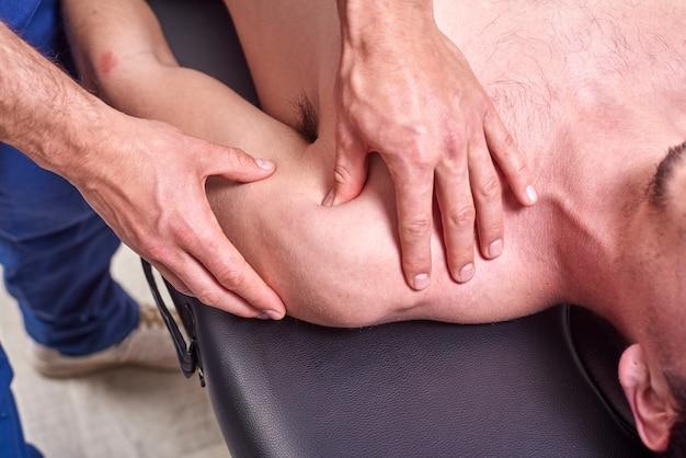 Osteopathy, sports injury rehabilitation concept.