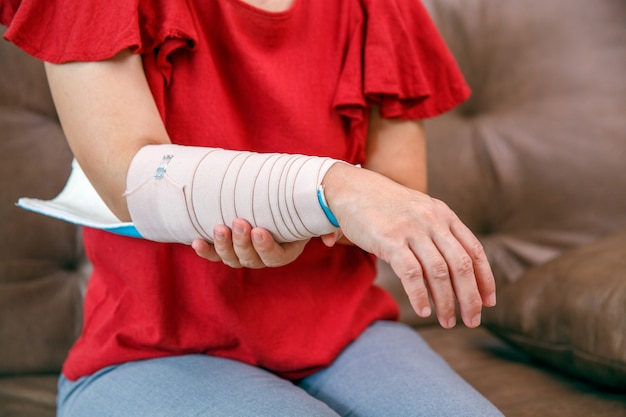 Osteoporosis splint with an elastic bandage is applied to help keep the splint in place