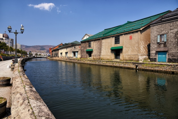 Otaru canal and old warehouse buildings