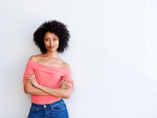 Oung african american woman standing with arms crossed on white background