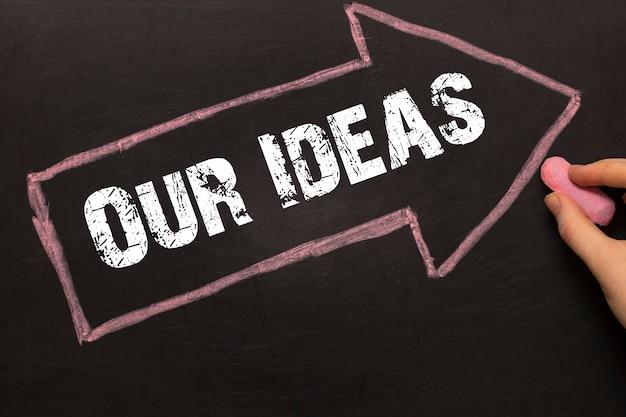 私たちのアイデア-黒い背景に矢印の付いた黒板