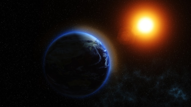 우리의 행성 지구, 태양은 우주에서 본 지구에 빛납니다
