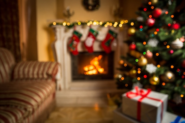 Out of focus background with living room decorated for christmas