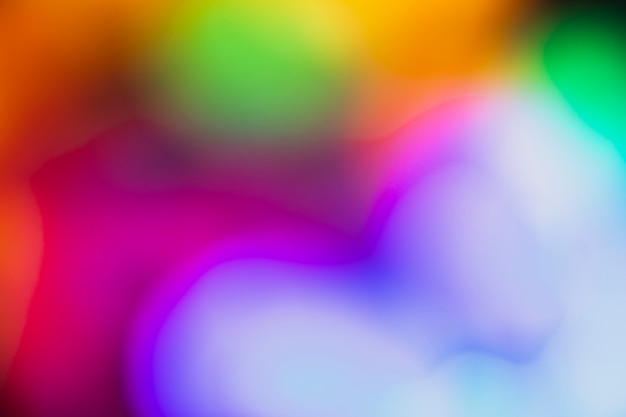 Out-of-focus colorful bokeh neon lights