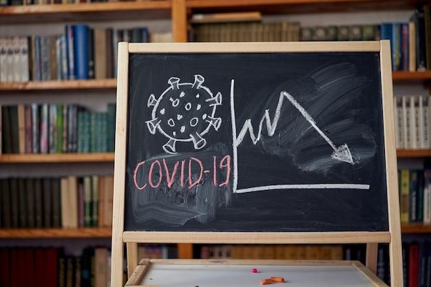 Предупреждение о вспышке. написано белым мелом на доске в связи с эпидемией коронавируса во всем мире. текст пандемии covid 19 на черной предпосылке с открытым космосом. нарисованные вирусные бактерии