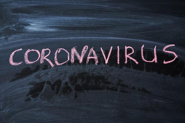 발발 경고. 전세계 코로나 바이러스 전염병과 관련하여 칠판에 흰색 분필을 작성합니다. 공간이 검은 배경에 covid 19 유행성 텍스트.