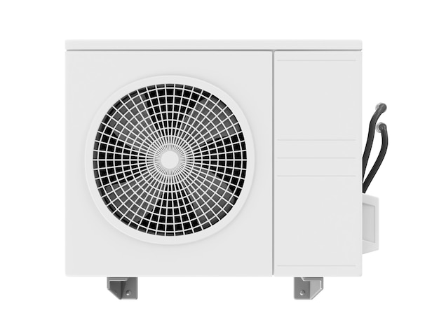 Outdoor air conditioner fan ventilation isolated on white background