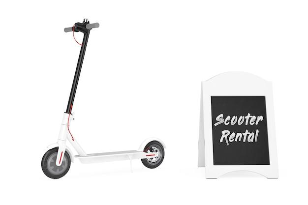 Outdoor blackboard bike rental display near white modern eco electric kick scooter on a white background. 3d rendering