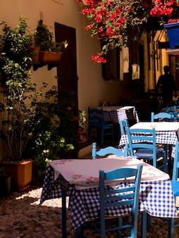 Outdoor café in rhodes greece